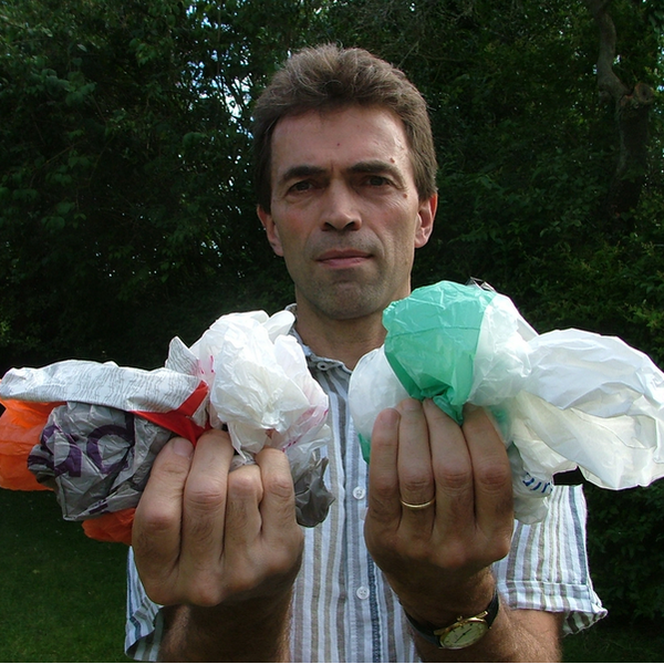 Tom Brake MP campaigning for a plastic bag charge in 2012